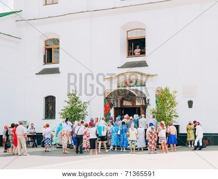 Believers Leaving Cathedral Of The Holy Spirit In Minsk, Belarus