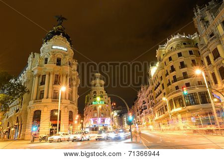 Metropolis Building at Gran Vía, Madrid, Spain