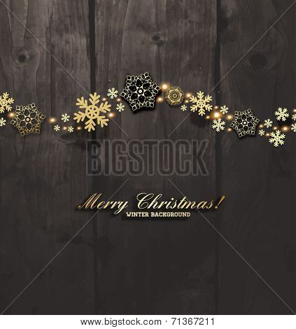 Elegant Christmas Background with Gold Snowflakes. Wood Texture Background.