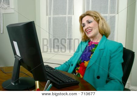 Beautiful Business Woman Approving Work