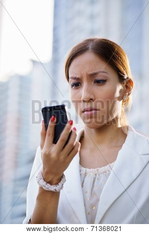 Portrait Sad Business Woman Typing Sms Phone Street