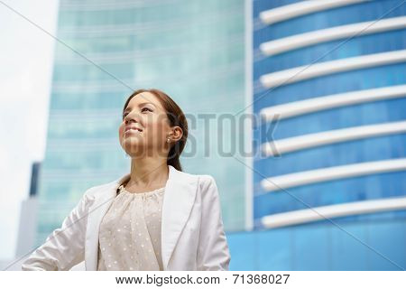 Business Woman Walking Proud City Office Building