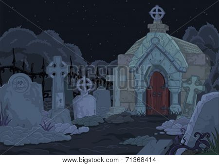 Illustration of night gothic cemetery
