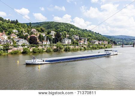 Freight Ship At The River Neckar