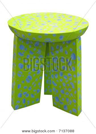 Green wood chair isolated on white background