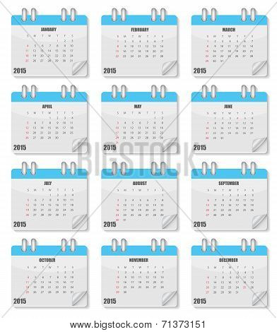 Calendar 2015 Year. Vector Illustration.