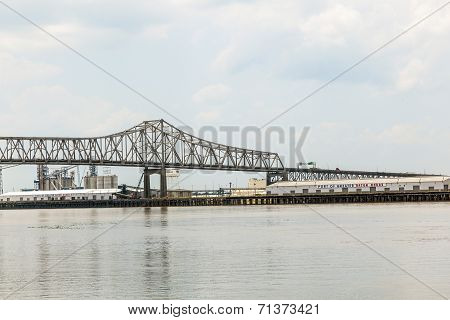 Mississippi River Bridge In Baton Rouge Louisiana