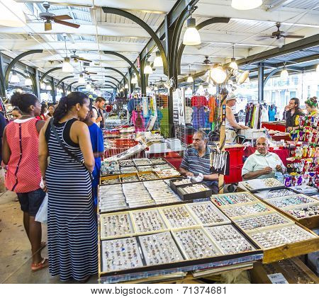 People Visit French Market On Decatur Street