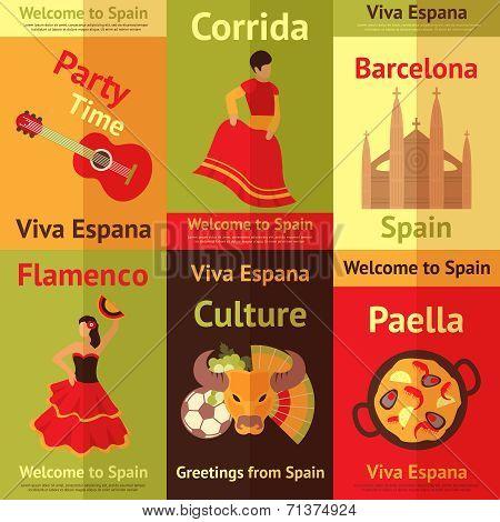 Spain retro posters set