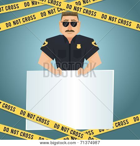 Policeman poster with yellow tape