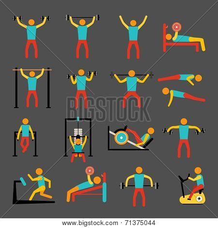 Workout training icons set