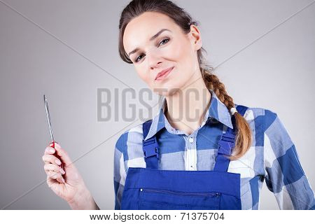 Woman Holding Screwdriver