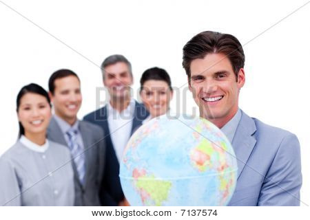 Young Manager And His Team Holding A Terrestrial Globe
