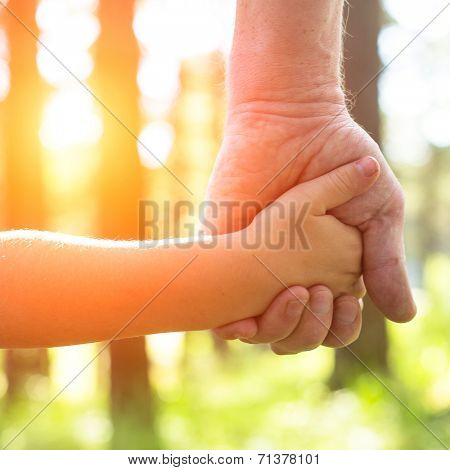 Close-up hands, an adult holding a child's hand, nature and sunset in background.
