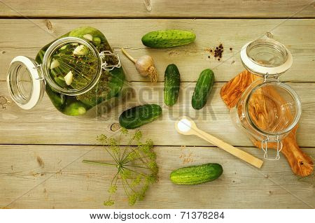 Homemade pickled cucumbers