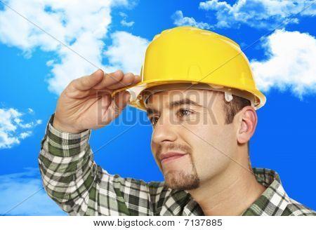 Worker Looking Forward