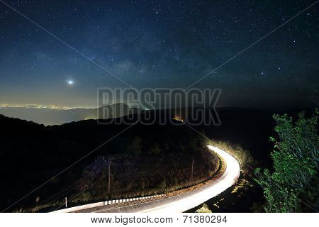 Landscape Of Milky Way Beautiful Sky On Doi Inthanon Mountain, Chiang Mai, Thailand.