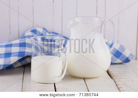Kefir  On Wooden Table