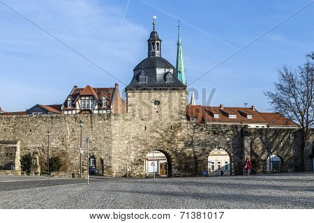 Muehlhausen, Inner Woman Gate At Historic Town Wall With Raven Tower
