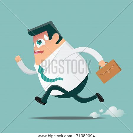 Running businessman in hurry