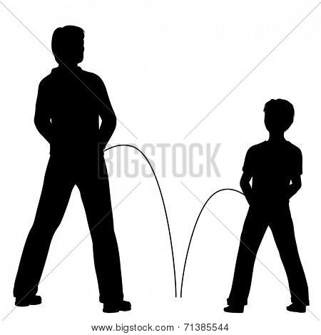 Illustrated silhouettes of a man and boy urinating together