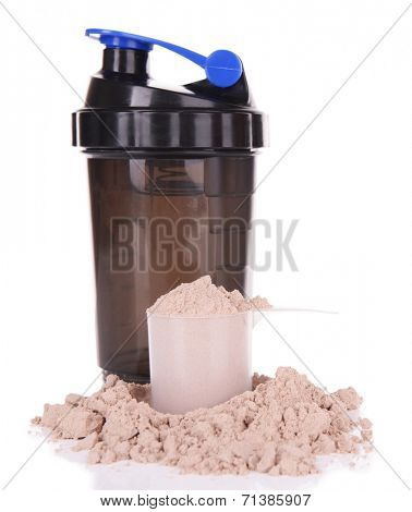 Whey protein powder  in scoop and plastic shaker isolated on white