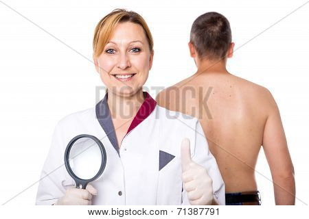 Female Doctor With Glass And Man