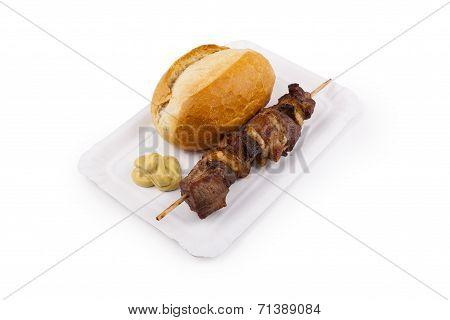 Shashlik With Bread Roll - Schaschlik Mit Brötchen