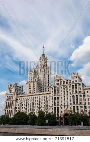 Stalin Skyscraper On The Waterfront In Moscow, Russia