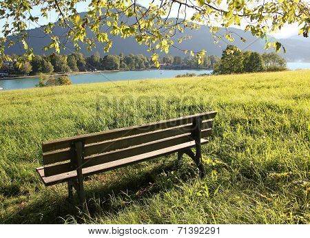 Lookout Point With Bench, Lake Tegernsee, Germany
