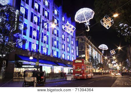 Christmas lights at night, in Oxford Street