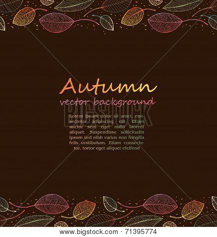 border frame of colorful autumn leaves