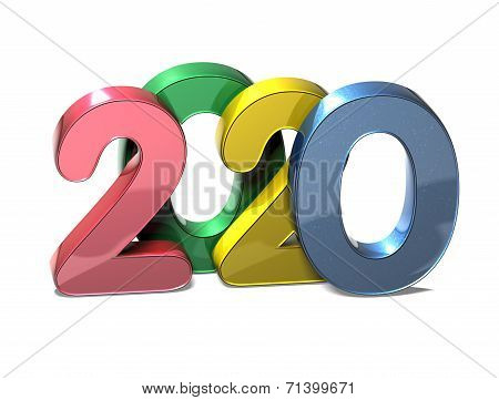 3D Year 2020 on white background