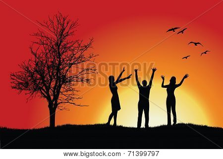 Two Women And Man Standing On Hill Near Bare Tree, Hands Up, Red Background