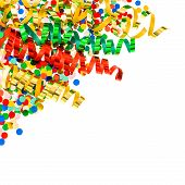 foto of confetti  - assorted confetti with shiny colorful streamer on white background - JPG