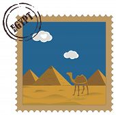 Old vintage postal stamp with Egyptian pyramids, famous landmark poster