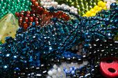 stock photo of beads  - Handcrafted jewels constructed by various beads in studio  - JPG