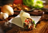 image of sandwich wrap  - spicy chicken wrap shot in panorama - JPG