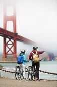foto of exercise bike  - Golden gate bridge  - JPG
