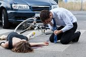 image of accident emergency  - Horizontal view of a fatal road accident - JPG