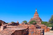 stock photo of tabernacle  - Stupas and Pagodas. Somingyi Kyaung. Bagan. Myanmar.