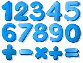 stock photo of subtraction  - Illustration of a set of blue numbers - JPG