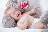 stock photo of crying boy  - Crying Newborn Baby - JPG