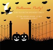 foto of happy halloween  - Happy Halloween pumpkin witch invite invitation party - JPG