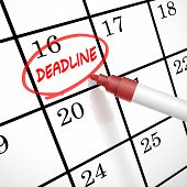 picture of delinquency  - deadline word circle marked on a calendar by a red pen - JPG