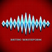 pic of waveform  - Retro card with 3D sound waveform and shadow - JPG
