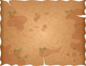 image of treasure map  - Pirate Treasure Map on Old Paper with X Marks the Spot - JPG
