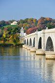 image of arlington cemetery  - Arlington Memorial Bridge and National Cemetery in Autumn  - JPG