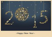 picture of occasion  - Happy New Year 2015 greeting card from golden snowflakes - JPG