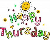 stock photo of thursday  - Hand drawn and colored whimsical cartoon special occasion text that reads HAPPY THURSDAY - JPG